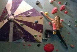 Sophie P training at Gravity climbing wall