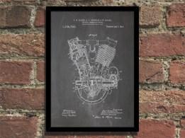 2014 steampunk art print 1914 engine patent print wall art poster - chalkboard blueprint-f22891