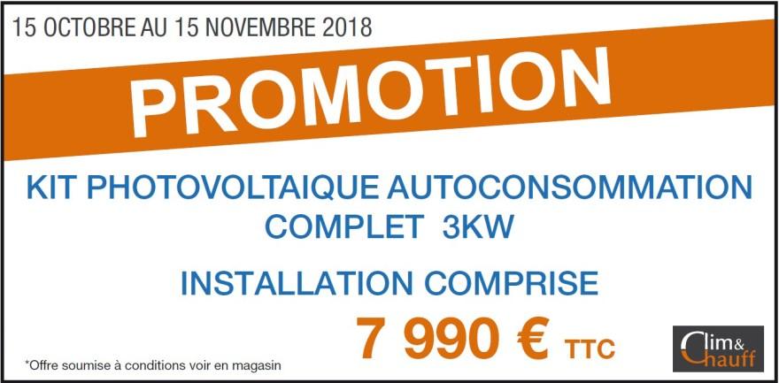 Promotion sur le photovoltaïque du 15 Octobre au 15 Novembre - Conditions en magasin