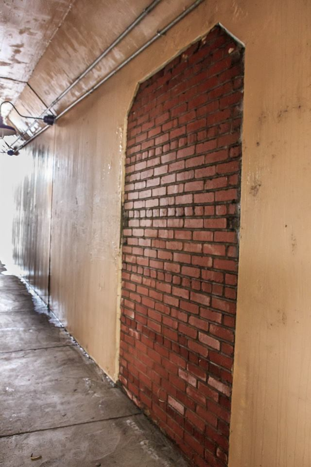 Entrance to Pedestrian Underpass at 4th Avenue, St. Paul VA bricked up.