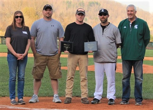 04-14-2018 Former Eastside star Austin Smallwood (center) was recognized prior to Spartans game.