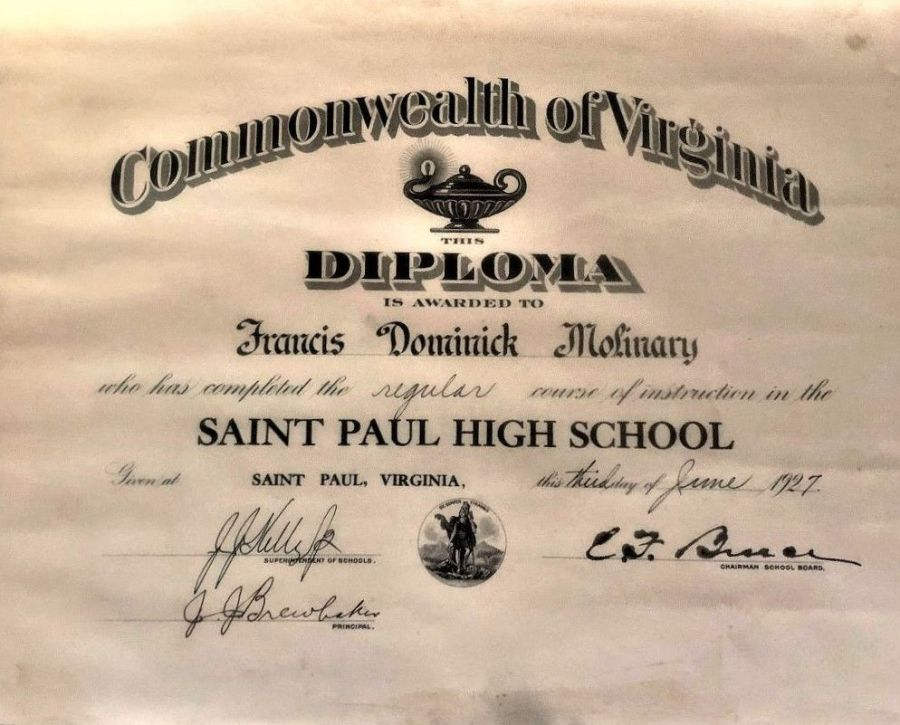 DOMER'S 1927 HIGH SCHOOL DIPLOMA