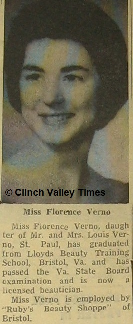 MISS VERNO GRADUATES FROM BEAUTY SCHOOL - CVT 1965