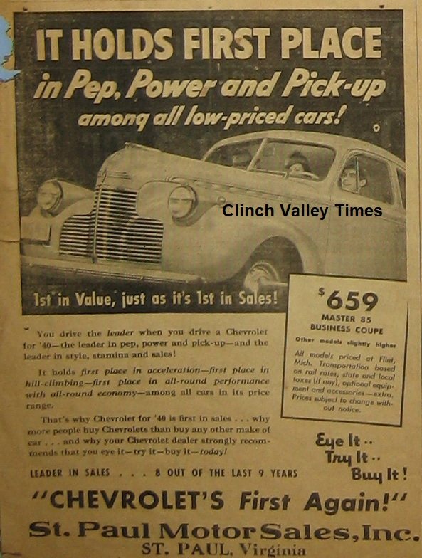 ST. PAUL MOTOR SALES AD - APRIL 4, 1940