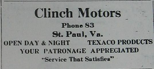 Clinch Motors newspaper ad 1939