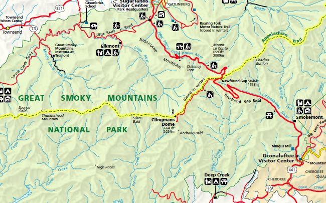 Clingmans Dome map, located in Great Smoky Mountains National Park.
