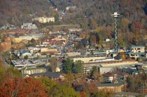 Aerial view of Gatlinburg TN