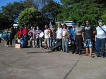 Encontro de foliões, antes da apresentação na praça de Ribeirão Preto.
