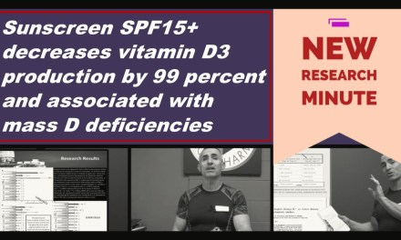 Sunscreen SPF15+ decreases vitamin D3 production by 99 percent and associated with D deficiencies
