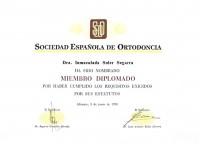 004-CERTIFICADO MIEMBRO DIPLOMADO DE LA SOCIEDAD ESPAÑOLA DE ORTODONCIA-Inmaculada