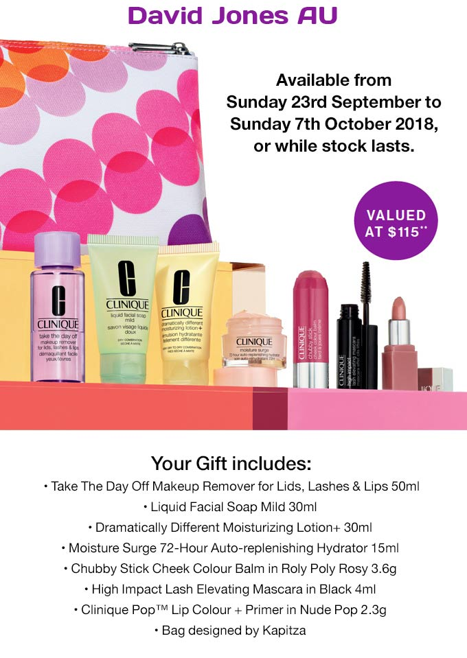 current upcoming clinique gifts