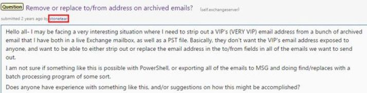 "July 24, 2014 Reddit post contained this request for advice about ""stripping out"" the email address of a ""VERY VIP"" email account. (Credit: Reddit)"