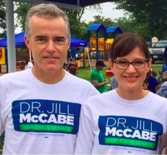 Andrew McCabe and Jill McCabe pose at a campaign event in 2015. (Credit: Sharyl Attkisson)