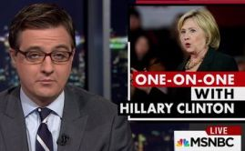 Chris Hayes has a call-in interview with Clinton during his show All In, on January 11, 2016. (Credit: MSNBC)