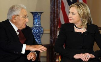 "US Secretary of State Hillary Clinton (R) and former US Secretary of State Henry Kissinger participate in ""Conversations on Diplomacy, Moderated by Charlie Rose,"" at the Department of State in Washington, DC, on April 20, 2011. AFP Photo/Jewel Samad (Photo credit should read JEWEL SAMAD/AFP/Getty Images)"