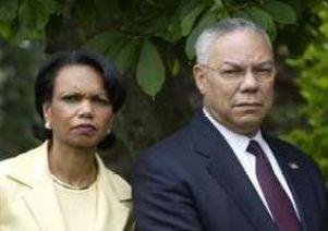 Condileeza Rice and Colin Powell (Credit: public domain)