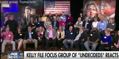 Frank Luntz's focus group at the presidential debate in St. Louis, Missouri. (Credit: Fox News)