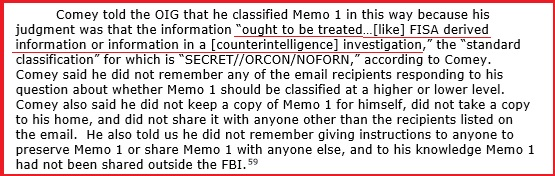 August 28, 2019 - The DOJ OIG report on Comey's memos is