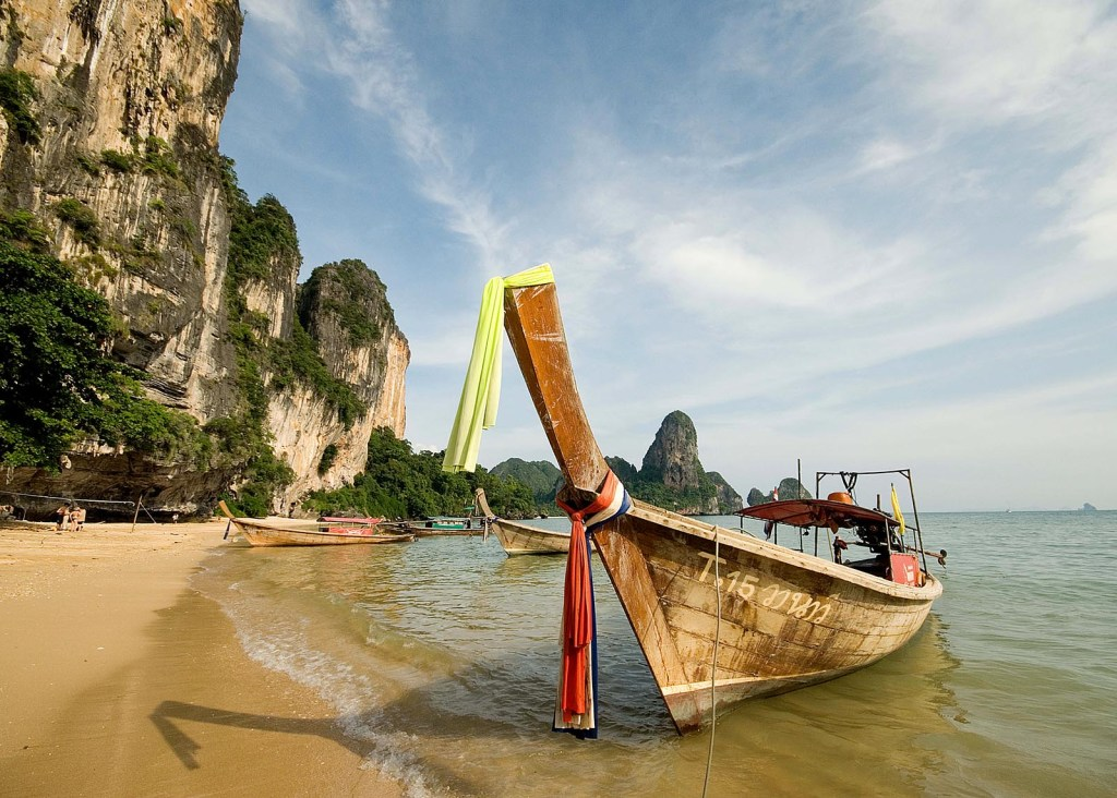 Longtail Taxi Boat on Tonsai Beach in West Railay