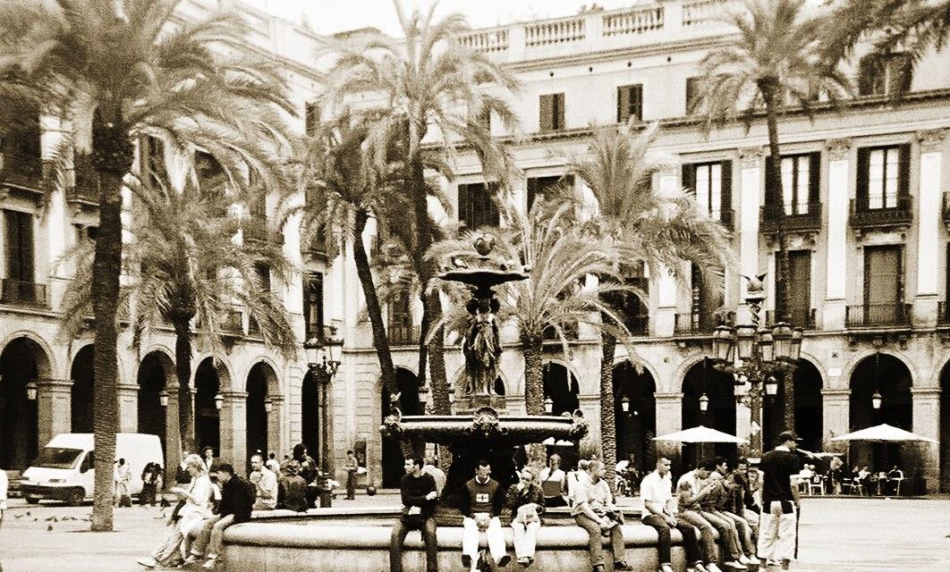 Plaza Real in Barcelona, Spain