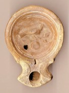 Roman Pottery Oil Lamp with Bird on Branch 1st Century AD Ex Welsh private collection 1970s to 2008 Ex Bonhams London 29 April 2009