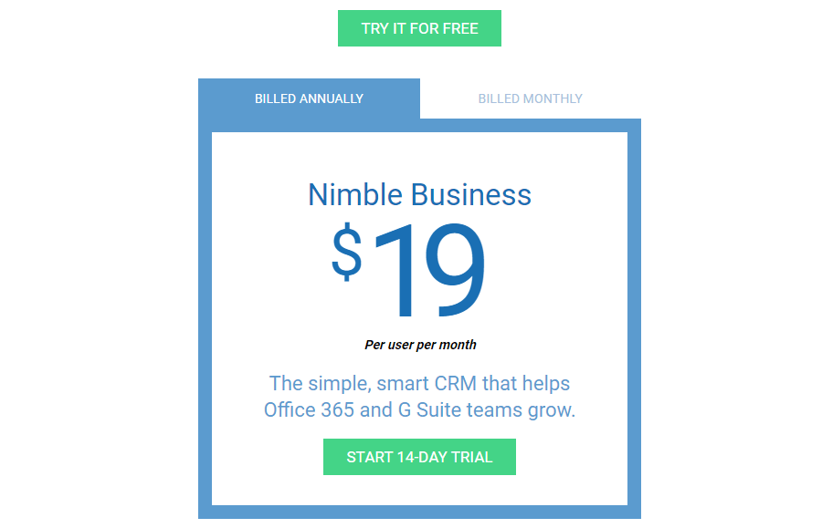 nimble pricing model