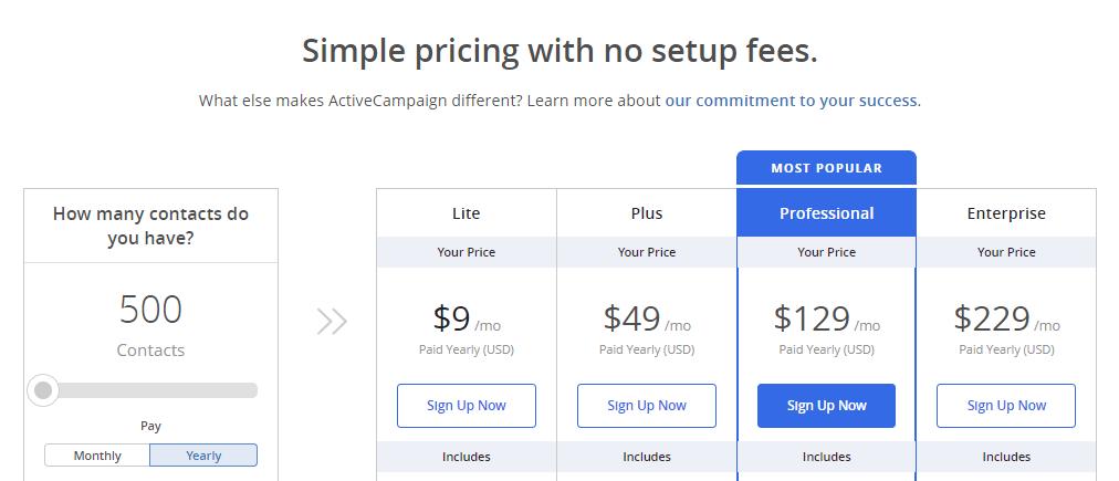 ActiveCampaign subscription plans
