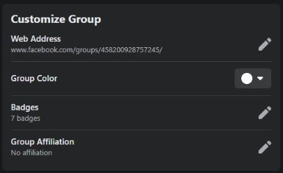 change your group URL, color, badge & affiliation.