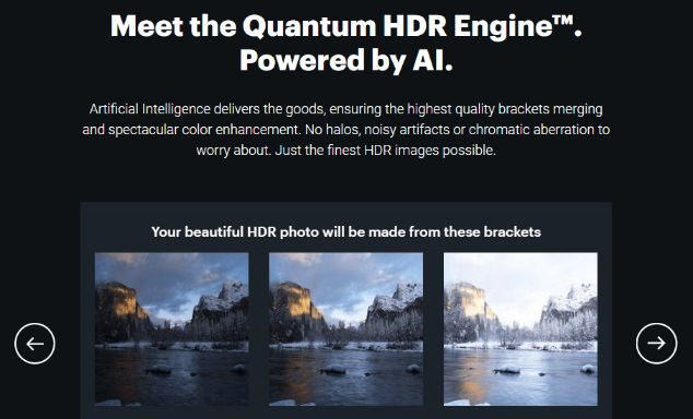 Quantum photo editor HDR Engine powered by A.I