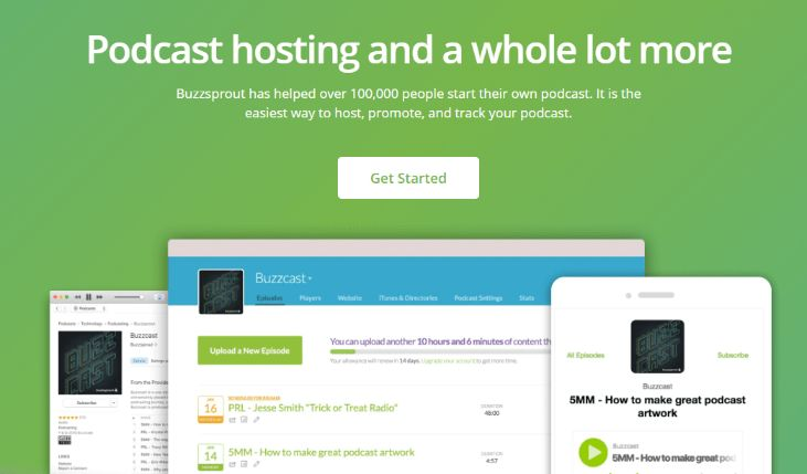 Buzzsprout is a renown podcast hosting platform, trusted by 100K Podcaster – Free Forever Plan