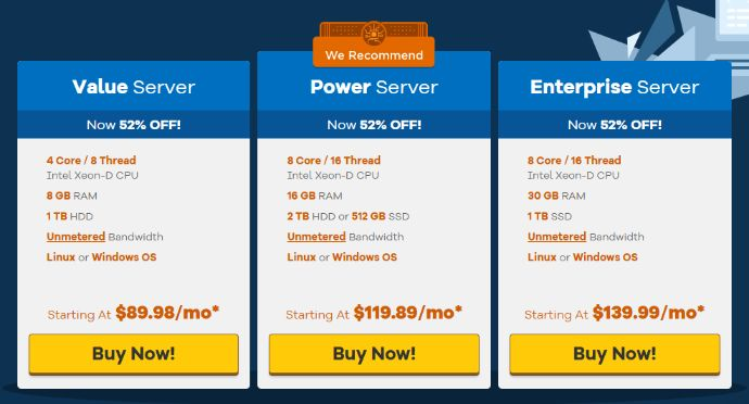 Dedicated hosting starts with $89.98 per month