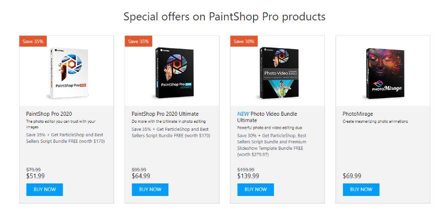 PaintShop Pro subscription plans