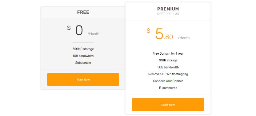 Site123 subscription plan