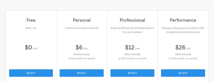 Weebly subscription plan