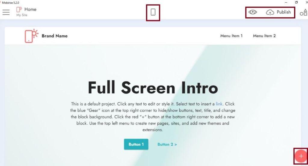 1st step, how to nevigate Mobirise webpage builder platform