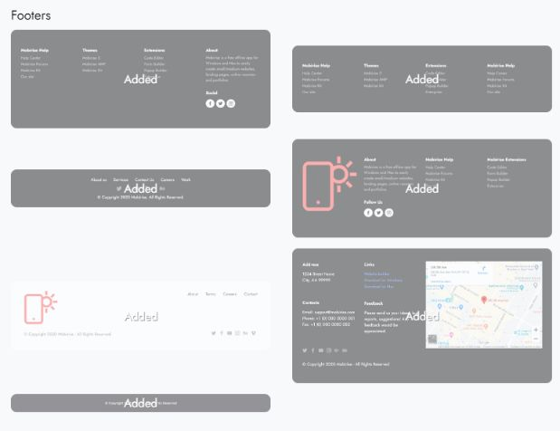 add professional looking footer at the end of your one-page website to make it complete