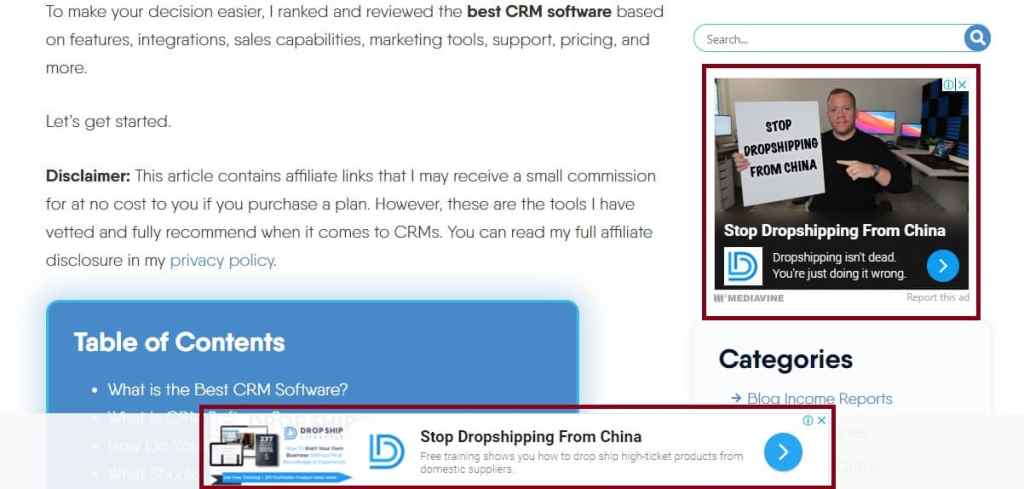an example of Google display ads