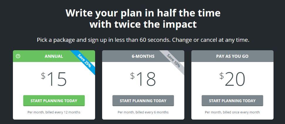 LivePlan subscription model