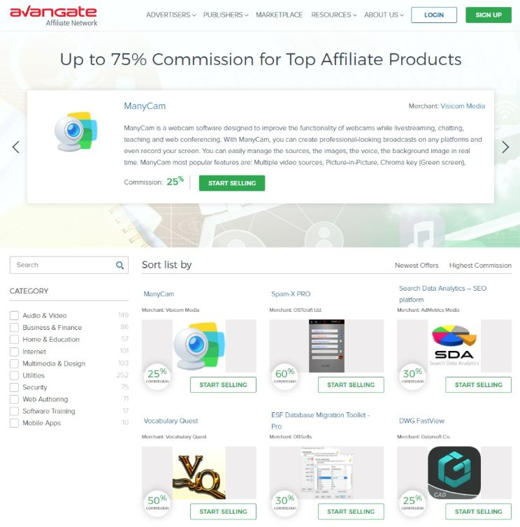Avangate affiliate network has up to 75% commission structure, it is higher than usual rate, also they have an in-house rating system of company.