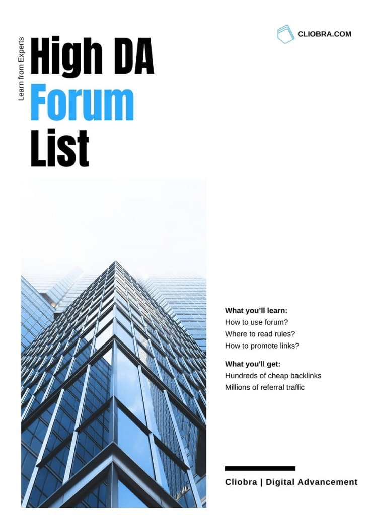 High DA Forum list for Backlinks in 2021