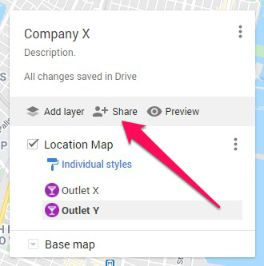 Share your newly created Google custom map to 3rd parties or blog.