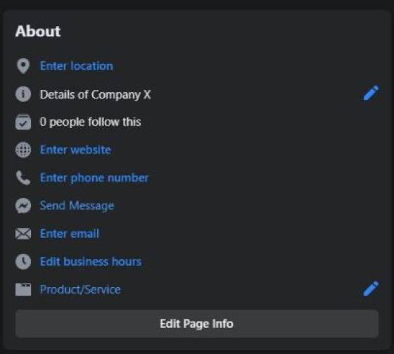 edit your page information. Enter official website address, phone number, email, etc.