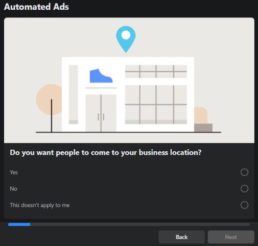 Facebook automated ad: do you have a physical business location?
