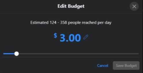Your daily budget is directly connected to your potential reach.