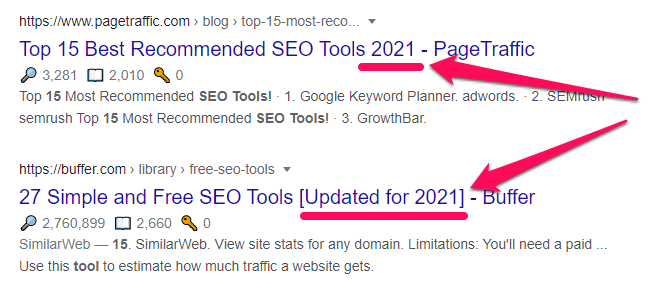 Google love fresh content. So, add current year at the end of your title tag.