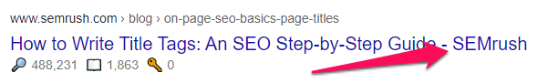 Add your brand name at the end of the title tag. It is a best practice to write a perfect SEO title.