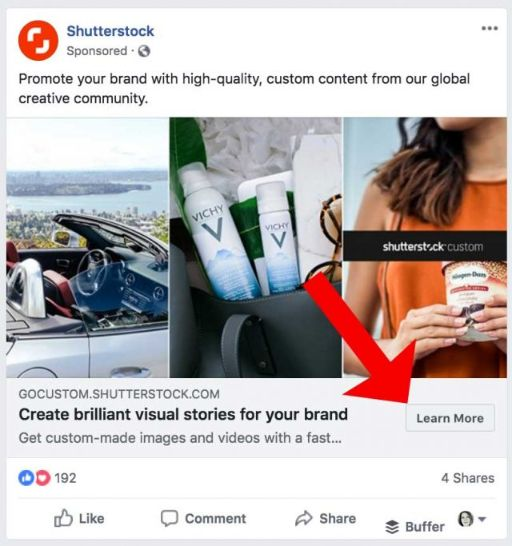 Use CTA button in your social post to draw audience to your site or products.