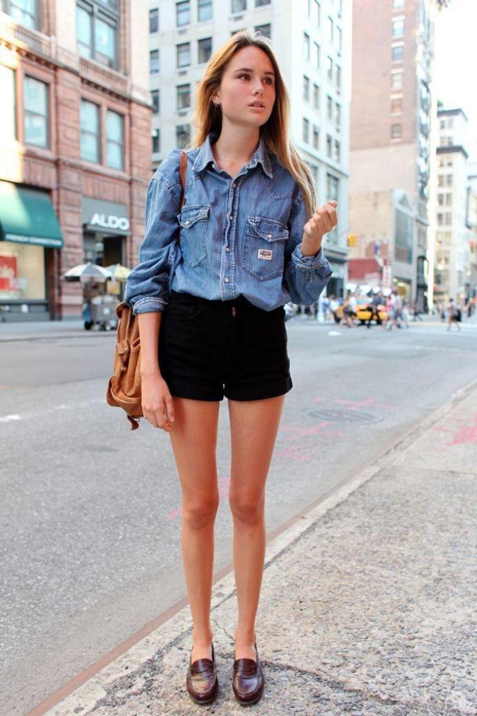ClioMakeUp-come-indossare-camicia-jeans-9-short-tinta-unita