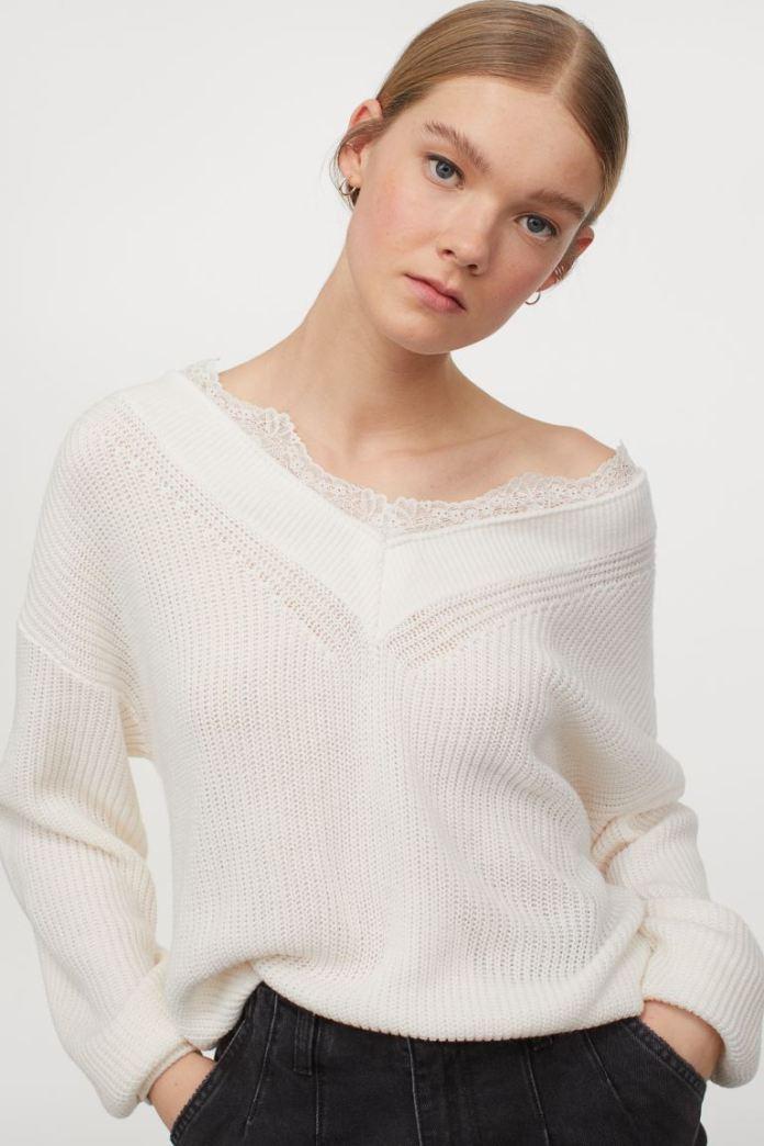 Cliomakeup-maglie-primavera-2021-hm-Pullover-con-bordo-in-pizzo-bianco