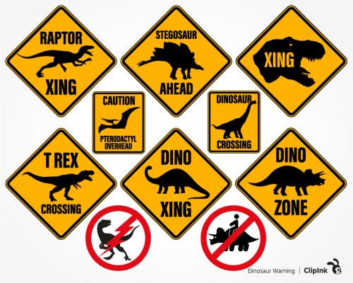 dinosaur warning svg